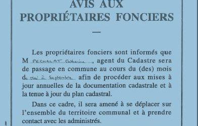 AVIS AUX PROPRIETAIRES FONCIERS
